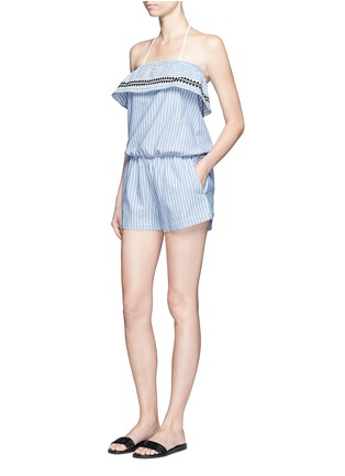 Figure View - Click To Enlarge - Lemlem - 'Mara' stripe embroidery strapless rompers