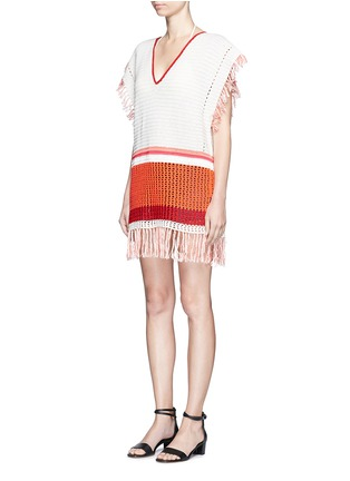 Front View - Click To Enlarge - LEMLEM - 'Kidan' stripe waffle knit cover-up