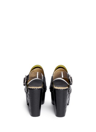 Back View - Click To Enlarge - TOGA SHOES - PVC trim floral embossed leather wooden clogs