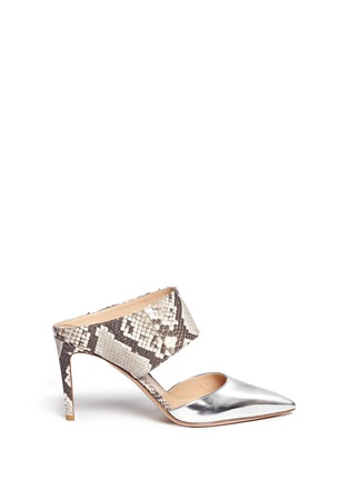 Main View - Click To Enlarge - Gianvito Rossi - Mirror leather python mules