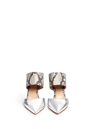 Figure View - Click To Enlarge - Gianvito Rossi - Mirror leather python mules