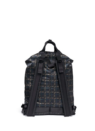 Back View - Click To Enlarge - Marni - x PORTER check print techno fabric drawstring backpack