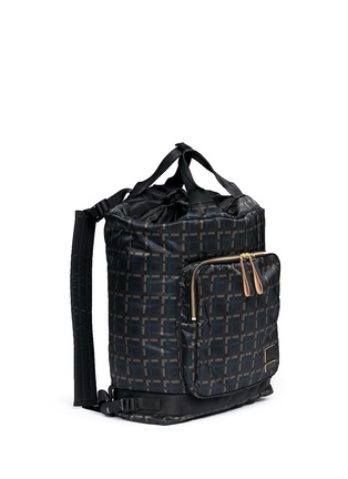 Front View - Click To Enlarge - Marni - x PORTER check print techno fabric drawstring backpack