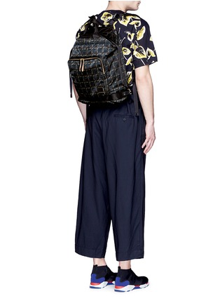 Figure View - Click To Enlarge - Marni - x PORTER check print techno fabric drawstring backpack