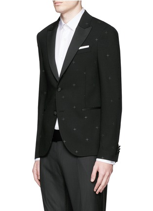 Front View - Click To Enlarge - Neil Barrett - Rubberised star print tuxedo blazer