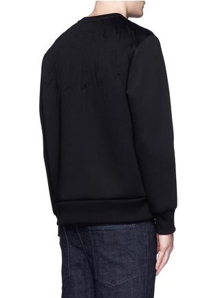 Back View - Click To Enlarge - NEIL BARRETT - Embossed thunderbolt scuba jersey sweatshirt