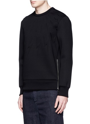 Front View - Click To Enlarge - NEIL BARRETT - Embossed thunderbolt scuba jersey sweatshirt