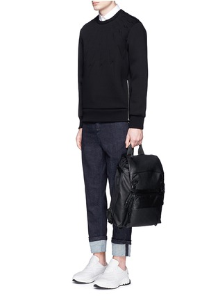 Figure View - Click To Enlarge - NEIL BARRETT - Embossed thunderbolt scuba jersey sweatshirt