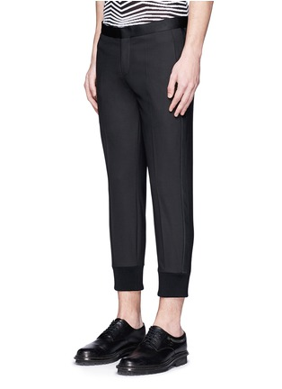 Front View - Click To Enlarge - Neil Barrett - Satin tuxedo stripe skinny fit pants