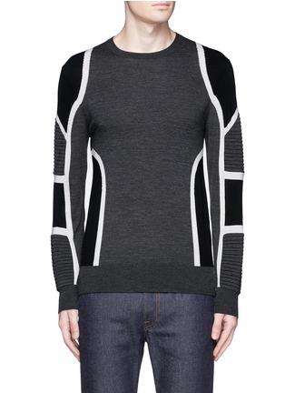 Main View - Click To Enlarge - Neil Barrett - Biker ribbing Merino wool sweater