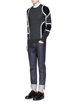 Figure View - Click To Enlarge - Neil Barrett - Biker ribbing Merino wool sweater