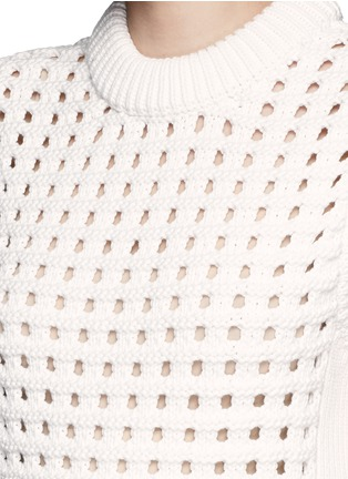 Detail View - Click To Enlarge - Tibi - Waffle pointelle knit front sweater