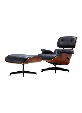 Main View - Click To Enlarge - HERMAN MILLER - EAMES LEATHER WALNUT WOOD LOUNGE CHAIR AND OTTOMAN