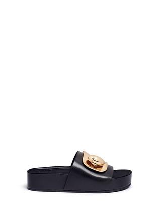 Main View - Click To Enlarge - Stella Luna - Turnlock buckle leather platform slide sandals