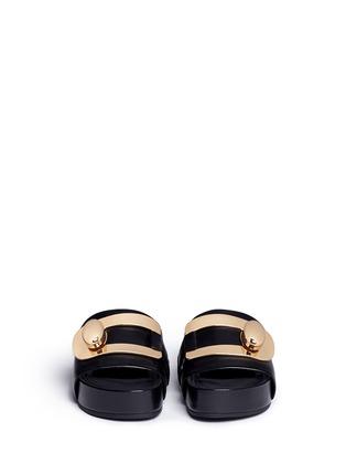 Figure View - Click To Enlarge - Stella Luna - Turnlock buckle leather platform slide sandals