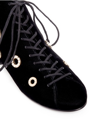 Detail View - Click To Enlarge - Stella Luna - Faux pearl metal eyelet velvet lace-up boots