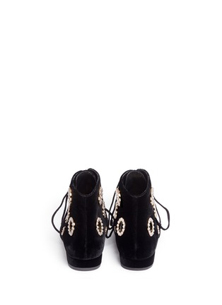Back View - Click To Enlarge - Stella Luna - Faux pearl metal eyelet velvet lace-up boots