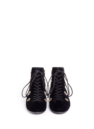 Front View - Click To Enlarge - Stella Luna - Faux pearl metal eyelet velvet lace-up boots