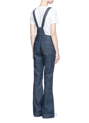 Back View - Click To Enlarge - Current/Elliott - 'The Clean Flare' dark wash denim overalls