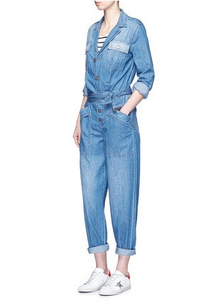 Figure View - Click To Enlarge - Current/Elliott - 'The Whitney Coverall' patchwork denim belted overalls