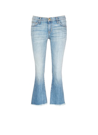 Main View - Click To Enlarge - Current/Elliott - 'The Cropped Flip Flop' frayed flare jeans