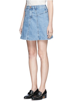 Front View - Click To Enlarge - CURRENT/ELLIOTT - 'The Skater' denim skirt