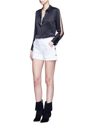 Figure View - Click To Enlarge - Equipment - x Kate Moss 'Jonie' split sleeve silk georgette shirt