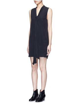 Front View - Click To Enlarge - Equipment - 'Phaedra' neck tie silk dress