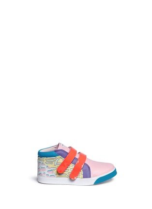 Main View - Click To Enlarge - Sophia Webster - 'Riley' mix tropical print mid top toddler sneakers