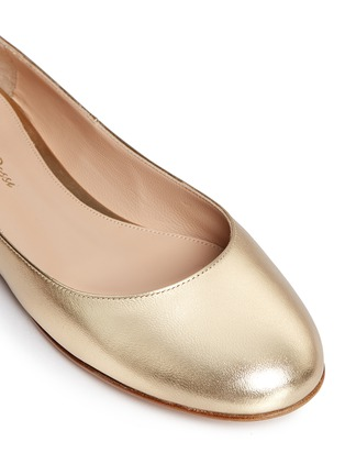 Detail View - Click To Enlarge - Gianvito Rossi - 'Carla' ankle tie metallic leather ballerina flats