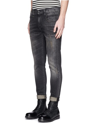 Front View - Click To Enlarge - R13 - 'Boy' paint splatter distressed jeans