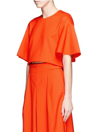 Front View - Click To Enlarge - Tibi - 'Agathe' bell sleeve cropped top