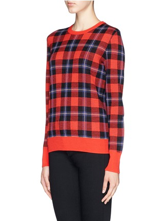 Front View - Click To Enlarge - Equipment - 'Shane' buffalo check plaid sweater