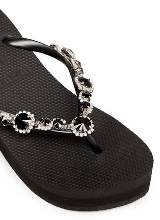 Detail View - Click To Enlarge - Uzurii - 'Marilyn' crystal wedge flip flops