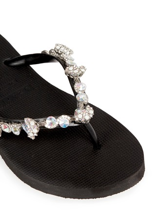 Detail View - Click To Enlarge - Uzurii - 'Jenny' crystal wedge flip flops
