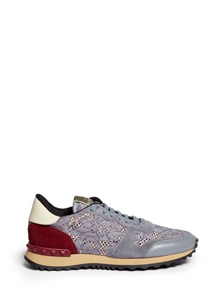 Main View - Click To Enlarge - Valentino - Colourblock macramé lace sneakers