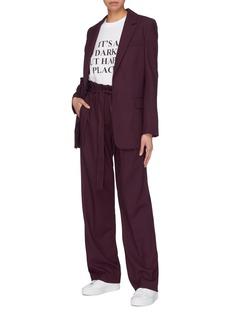VICTORIA, VICTORIA BECKHAM Peaked lapel wool blend piqué blazer