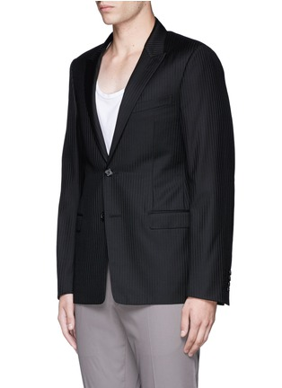 Front View - Click To Enlarge - Lanvin - Slim fit stripe wool jacquard blazer