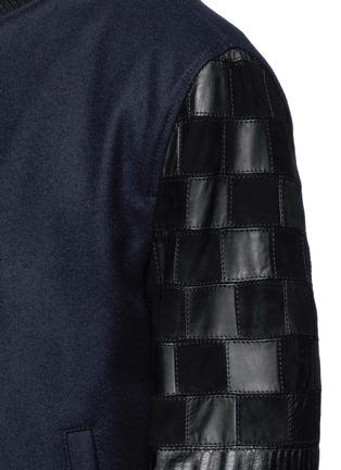 Detail View - Click To Enlarge - Lanvin - Patchwork leather sleeve baseball jacket