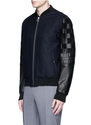 Front View - Click To Enlarge - Lanvin - Patchwork leather sleeve baseball jacket
