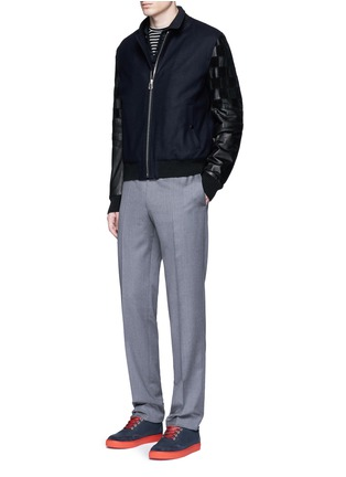 Figure View - Click To Enlarge - Lanvin - Patchwork leather sleeve baseball jacket