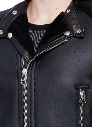 Detail View - Click To Enlarge - Lanvin - Vintage shearling leather biker jacket