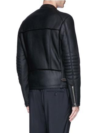 Back View - Click To Enlarge - Lanvin - Vintage shearling leather biker jacket