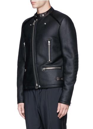 Front View - Click To Enlarge - LANVIN - Vintage shearling leather biker jacket