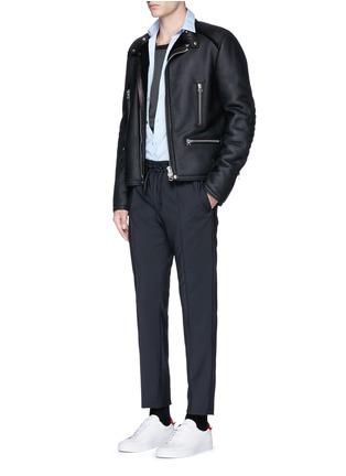 Figure View - Click To Enlarge - LANVIN - Vintage shearling leather biker jacket