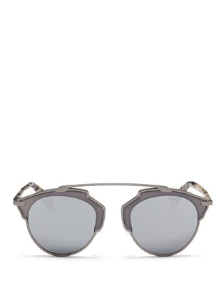 Main View - Click To Enlarge - Dior - 'Dior So Real' tortoiseshell acetate temple metal mirror sunglasses