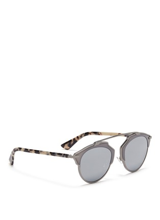 Figure View - Click To Enlarge - Dior - 'Dior So Real' tortoiseshell acetate temple metal mirror sunglasses