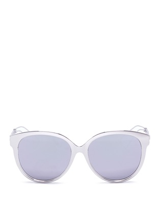 Main View - Click To Enlarge - Dior - 'Diorama 2' metal openwork temple acetate mirror sunglasses