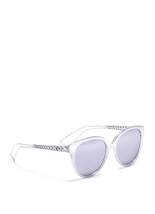 Figure View - Click To Enlarge - Dior - 'Diorama 2' metal openwork temple acetate mirror sunglasses