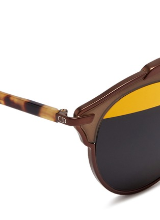 Detail View - Click To Enlarge - Dior - 'Dior So Real' tortoiseshell temple inset metallic stripe sunglasses